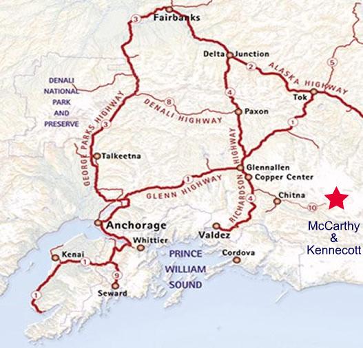 Map Of Alaska Highway System.Getting There 17 Silk Stocking Row In Kennicott Alaska